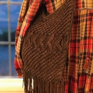 Lucky Brand brown suede fringed bag